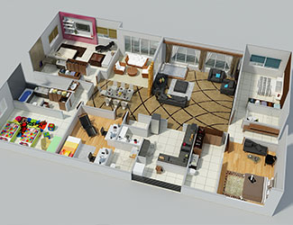 Top 3 Dimensional View of a 5BHK Apartment - only time where a person sees his apartment at one go